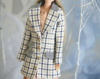 Discount 20% off jiajiadoll blue and white checked long coat - for momoko or misaki or Blythe