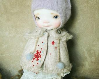 jiajiadoll- cream snow flower hooded coats cape 2 WAY fit  lati yellow pukifee irrealdoll middie blythe secretdoll Dorandoran