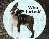 """Boston Terrier - Who Farted? - Pocket Mirror or Magnet - 2-1/4"""" 2.25"""""""