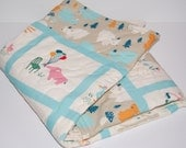 ORGANIC quilted baby blanket- everyday party- ready to ship