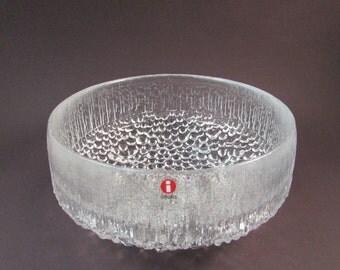 Vintage Tapio Wirkkala for iittala Ultima Thule Glass Bowl Scandinavian Glass Bubbled and Textured Glass Bowl