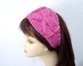 Handknit headband Bow Pink Head wrap Hair accessory