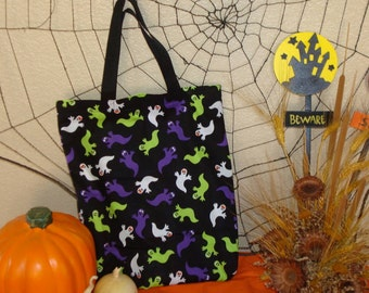 Halloween Trick or Treat Reversible Tote Bag in a Multicolored Ghosties and Halloween Faces Print