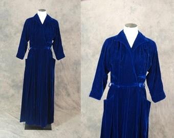 vintage 40s Maxi Dress - 1940s Navy Blue Velvet Dressing Gown Sz S