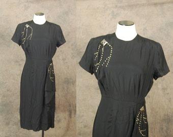 vintage 40s Cocktail Dress - 1940s Studded Dress - Black Draped Sash Dress Sz M