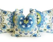 Blue Suzani Pillows, Set of Three, Throw Pillow Covers, Blue White, Chartreuse, Grey Green, Cushion Covers, Large Medallions, 18x18