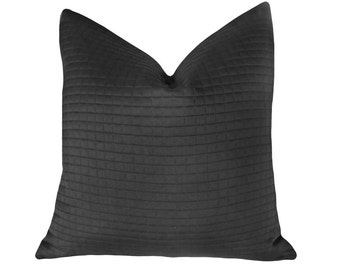 Contemporary Black Pillow, Solid Black or Solid Brown Pillow Cover, Oblong, Square 18, 20, 22, 24, 26, Modern Minimalist, Masculine Cushions