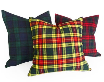 Colorful Plaid Pillow Cover, Wool Tartan Pillow, Plaid Throw Pillows, Rustic Pillow, Green Blue Red Orange Chartreuse 18x18, SALE