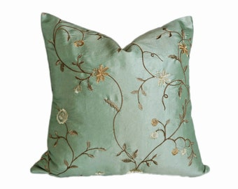 Aqua Blue Designer Pillows, Seamist Floral Pillow Cover, Gold Bronze Silver Embroidered Flowers, Luxury Home Decor, 20x20, 22x22