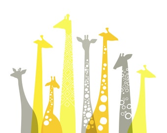 "10X8"" giraffe silhouettes landscape giclee print on fine art paper. lemon, sunflower, and schoolbus yellow and gray."