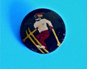 """Vintage Black Plastic Celluloid Button with Hand Painted Skier 3/4 """" 1930's"""