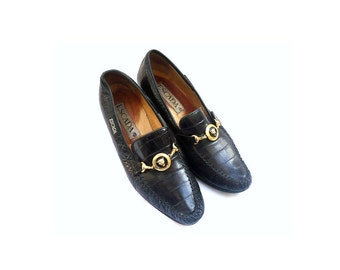 ESCADA Black Leather High Heel Loafers / Oxford
