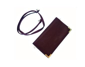French Vintage Dark Brown Leather Purse / Shoulder Bag