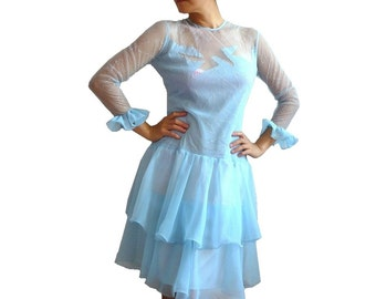 COSMOS French Vintage Embroidered Soft Blue Tule Party Dress