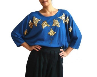 LEVA French Vintage Blue Blouse with Sequins and Beads Embroidery