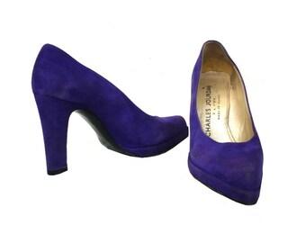 French Vintage Charles Jourdan Purple Suede High Heels