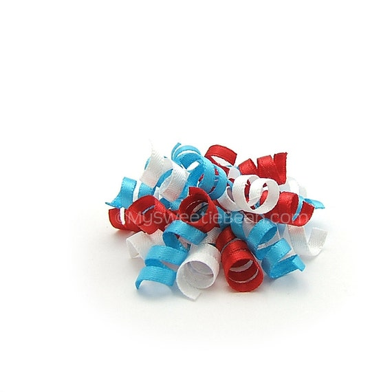 Mini Korker Bow, Dr Seuss Colors Cat in the Hat Colors 1950s Retro Turquoise Red White Satin Korker Baby Toddler