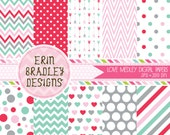Valentines Day Digital Paper Set Pink Red Blue Gray Hearts Polka Dots Stripes Arrows Digital Paper Graphics INSTANT DOWNLOAD