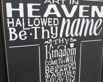 Lord's Prayer typography wood sign