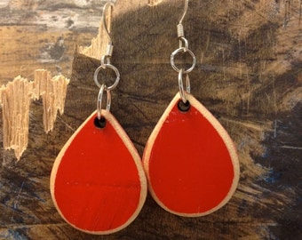 Raindrop, Reclaimed Skateboard Earrings