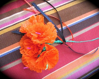 Sm. Day of the Dead MARIGOLD PAPER Flowers -  Vibrant and Necessary for your Altar
