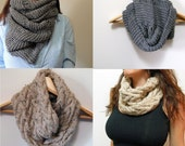 2 Patterns - Oversized Cowl Infinity Scarf & Cable Cowl Infinity Scarf Knitting Pattern / Digital PDF Knitting Patterns