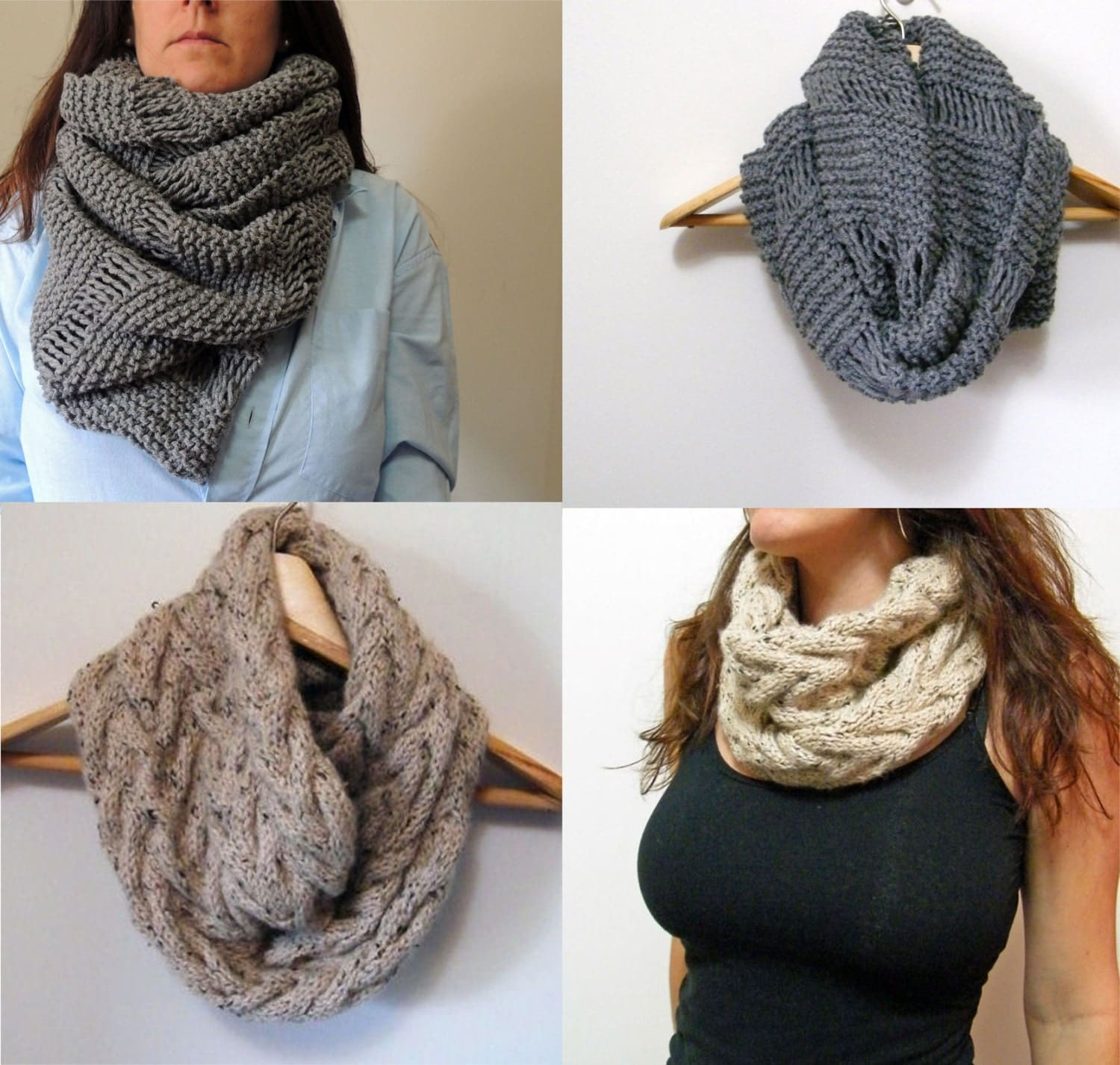 2 Knitting Patterns Oversized Cowl Infinity Scarf & by LewisKnits
