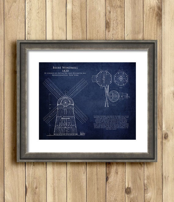 Beebe Windmill Blueprint Art Print Multiple Sizes By