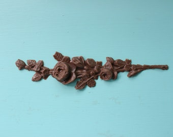 Small Rose Spray Furniture Applique, Shabby Chic Brown Distressable Onlay