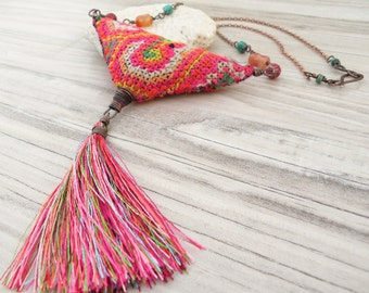 Colorful Eclectic Necklace - Bohemian Jewelry with Silk Tassel and Vintage Hill Tribe Embroidery