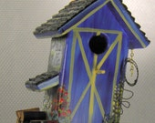 Blue Barn Bird House , Unique , Pick Up in the Barn with Seed in the Back , Mule in the Stall , Handcrafted , Hand Painted