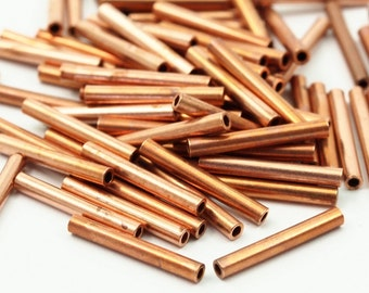50 Raw Copper Tube Beads 2x15mm A0664