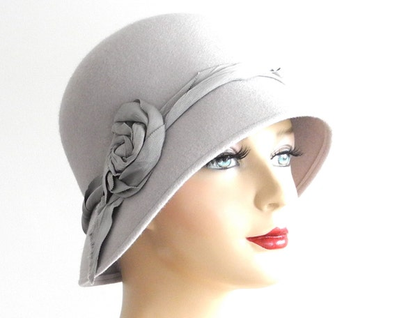 Cloche Hat Women's Hat Winter Accessories Ladie's Hat Fall Fashion Flapper Hat 1920s Hat 1930s Hat Great Gatsby Hat Silver Gray Hat