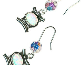 lab grown created white opal sterling silver pagoda Swarovski crystal earrings