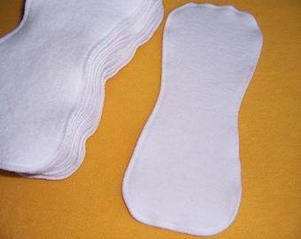 Set of Infant Contoured Hemp Organic Cotton Fleece Cloth Diaper Liners Doublers Inserts Soft & Absorbant Hourglass Shape