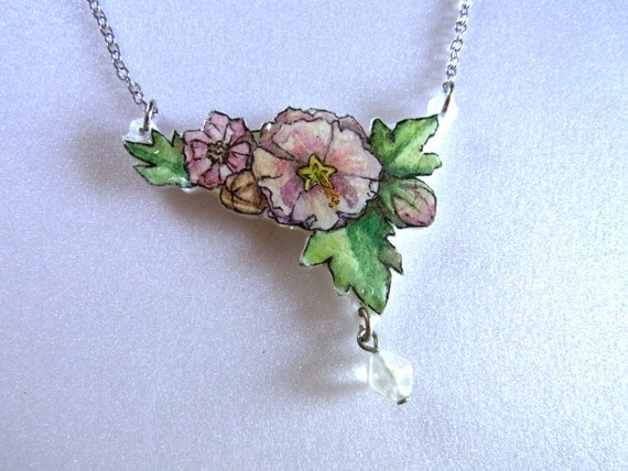 Cleanse Sale OOAK Hand Drawn Flowers Necklace Pendant, Original Wearable Art