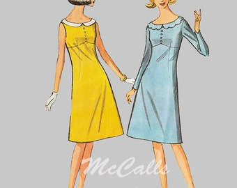 Vintage McCalls 7707 Sewing Pattern Misses high Waistline, Flared Dress Bust 32, Size 24