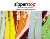 YKK Jeans Zippers Metal Teeth - Number 5 Brass With Locking Slider Closed Bottom By each - 4 Inch to 11 Inch (Options Length and Color)