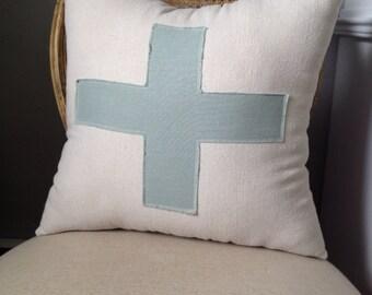 Cross Pillow in Cream and Aqua 16x16