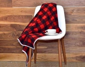 Cabin Blanket in Soft USA Wool- Rustic Home Decor, Throw Blanket, Red and Black, Buffalo Check