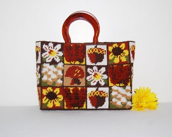 Vintage Handbag Flowers and More Needlepoint with Tortoise Handle