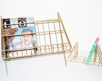 SALE...........Vintage Metal Stand / Rack with Book Ends 1950's Industrial / Mid Century