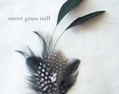 Feather Fascinator - PARIS DOT - Black White Polka Dot Plume Feather Clip