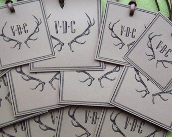 Personalized Antler Gift Tags, Victorian Vintage Inspired Tags, Wedding Favor Tags, Antique Monogrammed Tags set of 26