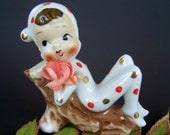 Vintage Polka Dot Pixie Figurine Napco Japan 1950's Porcelain Collectible Elf reclining on a Log with flower