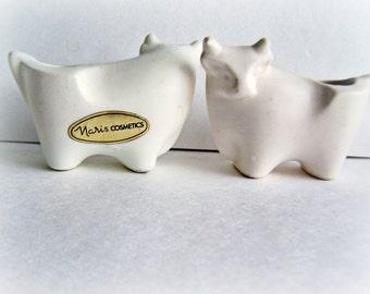 Vintage Collectible figurine Modernist White Porcelain Bull Naris Cosmetics Taurus Lipstick Holder 1970's, One bull per Order