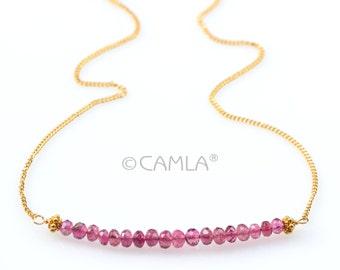 Gold Pink Tourmaline Bar Necklace