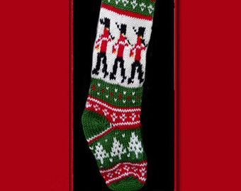 Hand knit Christmas stocking,  Personalized, made of pure wool yarn,  fully lined -- marching nutcracker