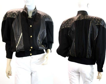 Oversized Leather and Cotton Woman's Vintage Bomber Jacket
