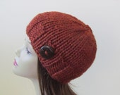 Chunky Knit Hat Winter Hat Chunky Knit Beanie Womens Hat Teens Hat - Spice with  Button Accent  - Ready to Ship - Direct Checkout